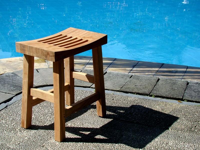 A-Grade Teak Wood Elite Shower Bench Stool Shelf Spa Bath Outdoor Garden Patio