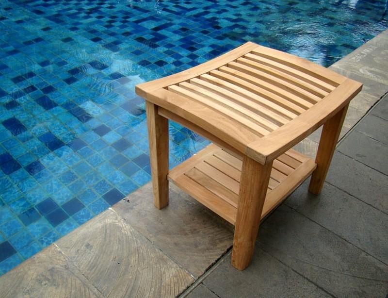 shower bath room pool spa stool bench with shelf